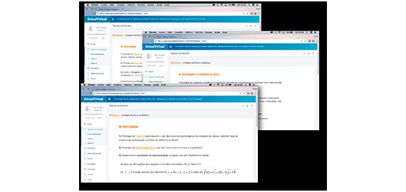 Telas do Sistema de Avaliação do Ambiente Virtual de Aprendizagem da Unisul Digital