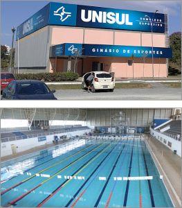 Fotos externa do Ginásio de Esportes e foto interna do Complexo Aquático do Campus Unisul Pedra Branca